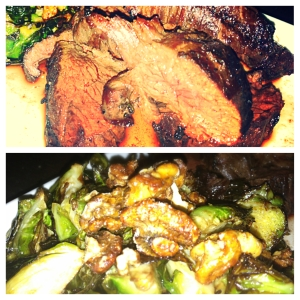 Hangar Steak and Roasted Brussel Sprouts with Candied Walnuts and Bacon