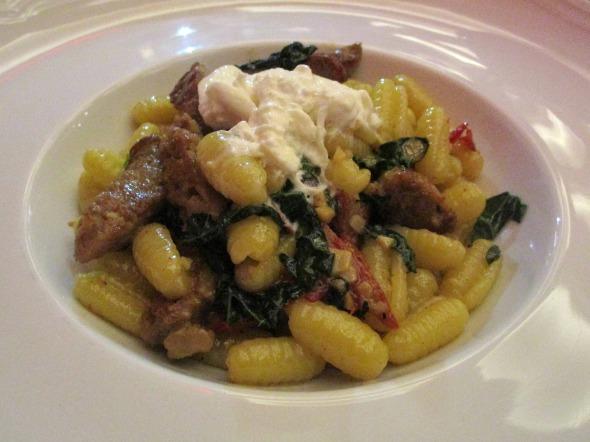 Gluten-Free Pasta: Cavatelli with Italian Sausage, Kale, Calabrian Chili and Stracciatella